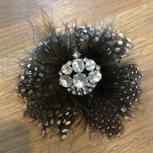Plume Black and White Brooch